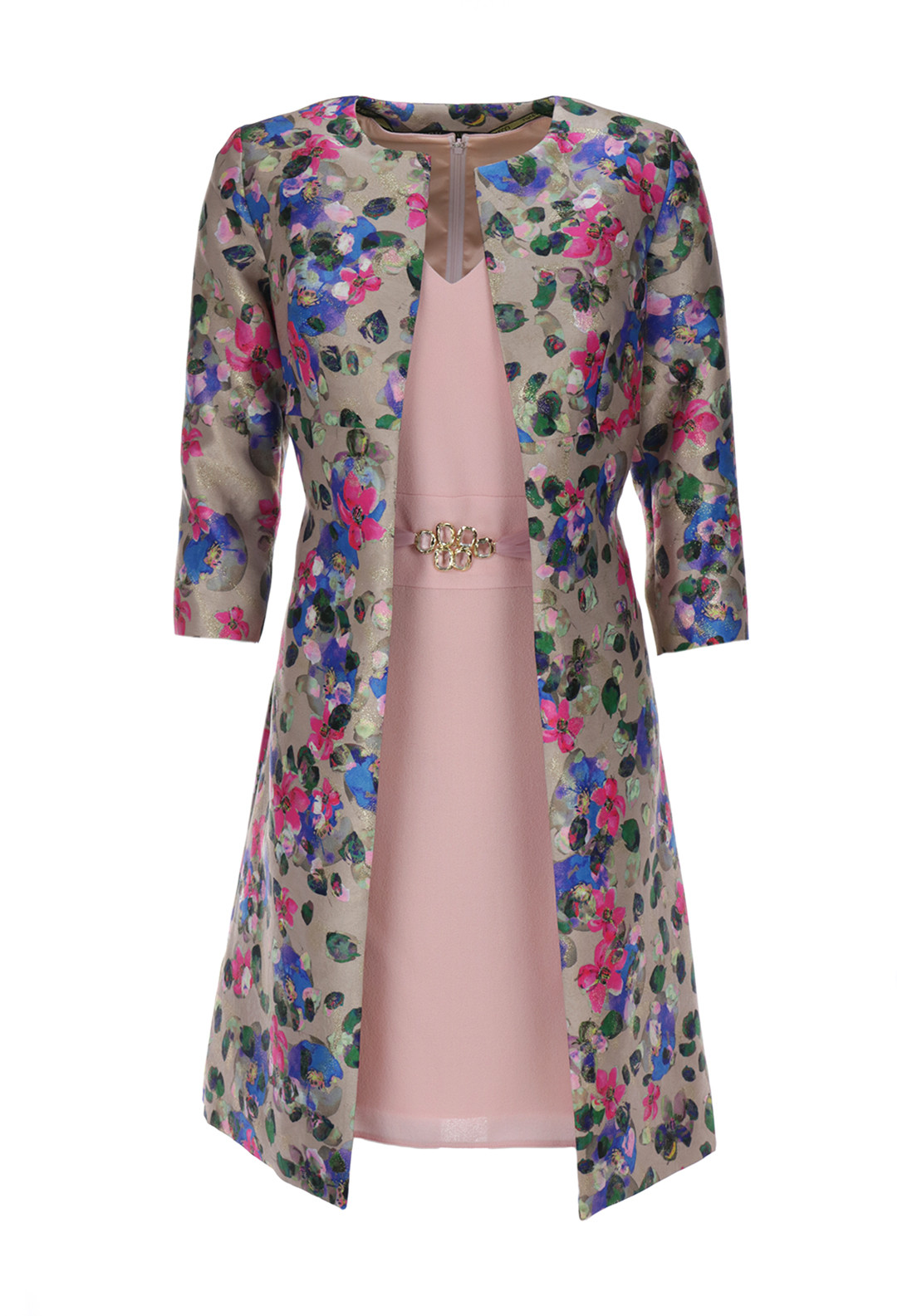 Linea Raffaelli Fleece Wool Dress & Floral Print Coat, Multi-Coloured