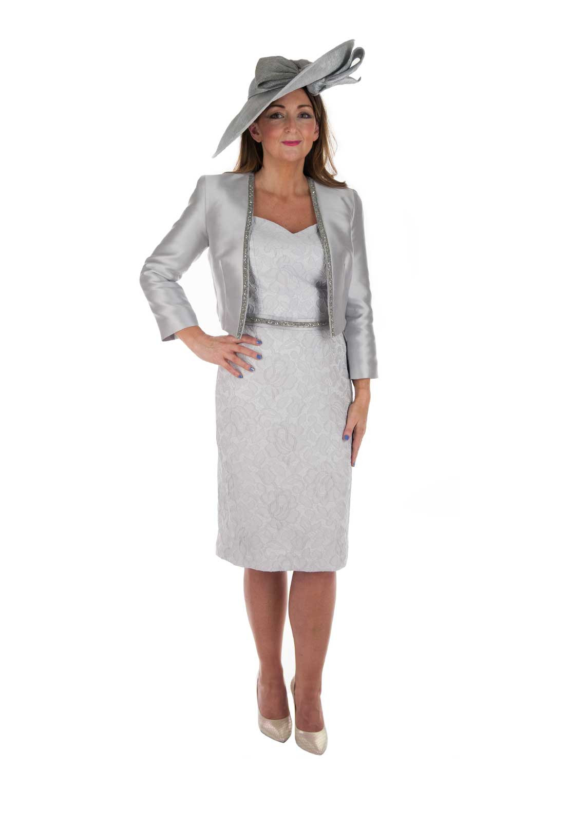 Linea Raffaelli two piece dress and Jacket Silver