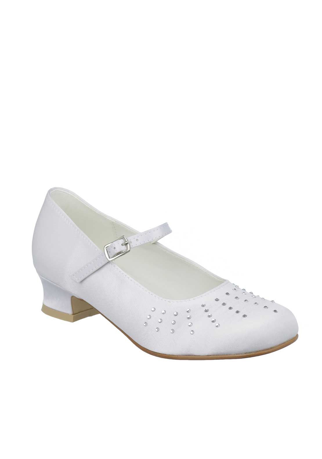 Little People Jewelled Satin Communion Shoes, White