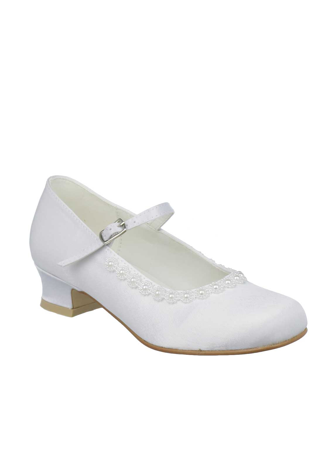 Little People Pearl Flower Satin Communion Shoes, White