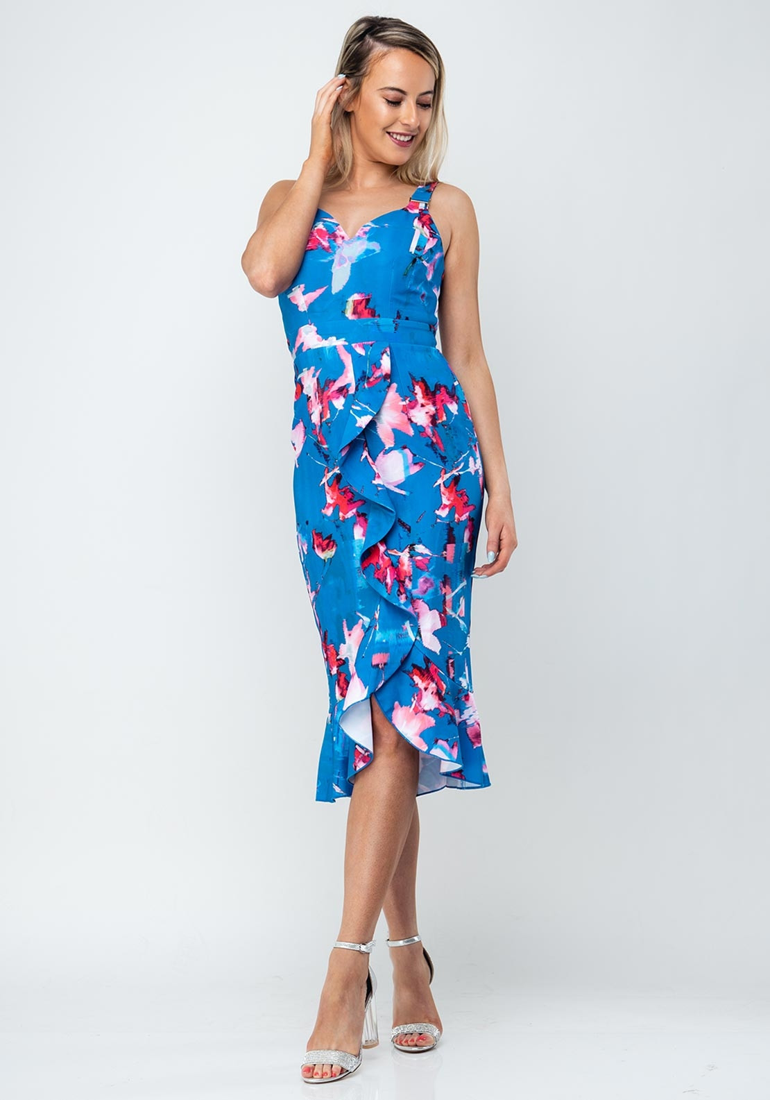af6ab84e24c09 Little Mistress Printed Frill Pencil Dress, Blue. Be the first to review  this product