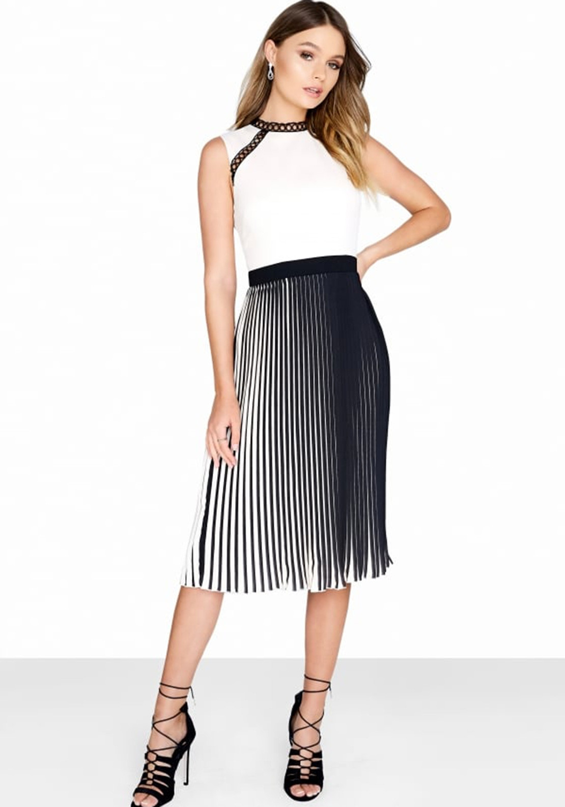 nice cheap hot new products new release Little Mistress Pleated Midi Dress, Black and Cream   McElhinneys