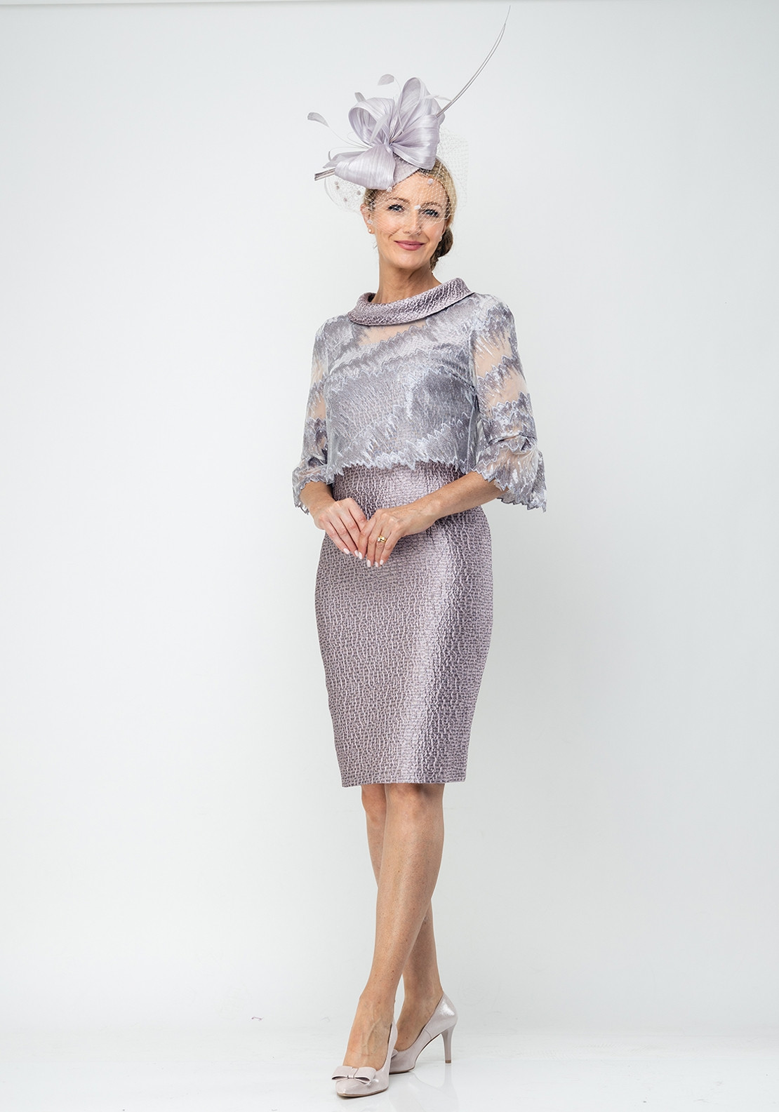54ea6e0f36a6ca Lizabella Embossed Dress & Chiffon Jacket, Lilac. Be the first to review  this product