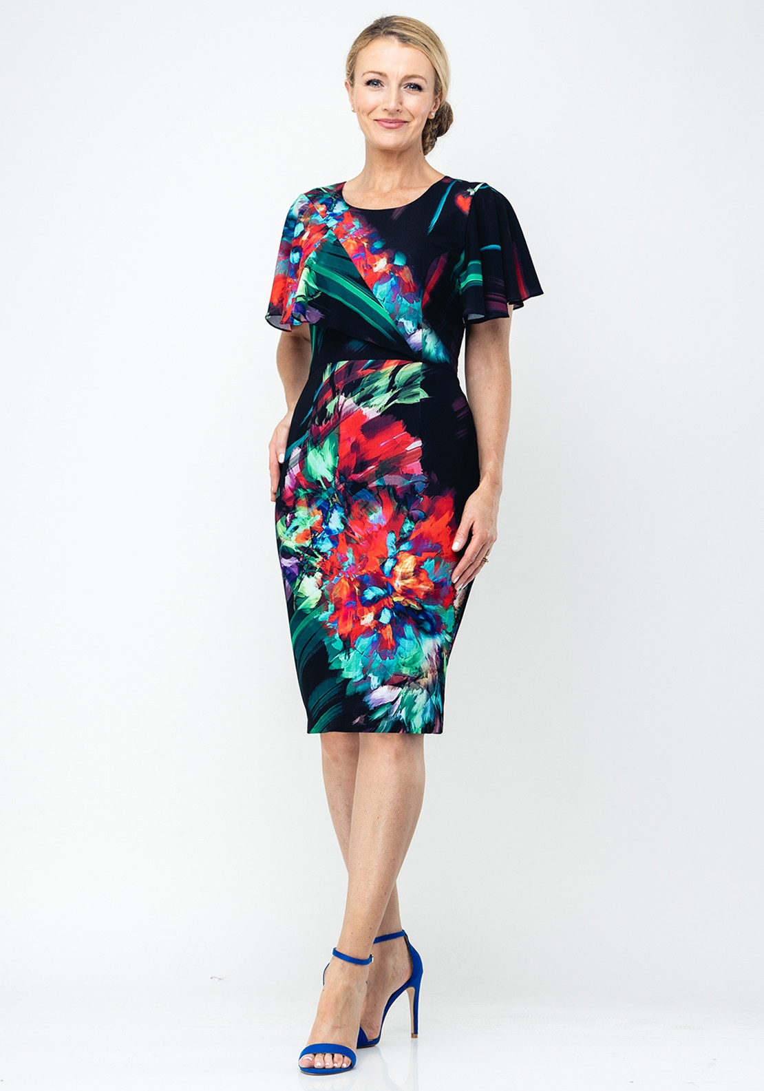 58c844d673dc54 Lizabella Digital Floral Pencil Dress, Multi-Coloured | McElhinneys