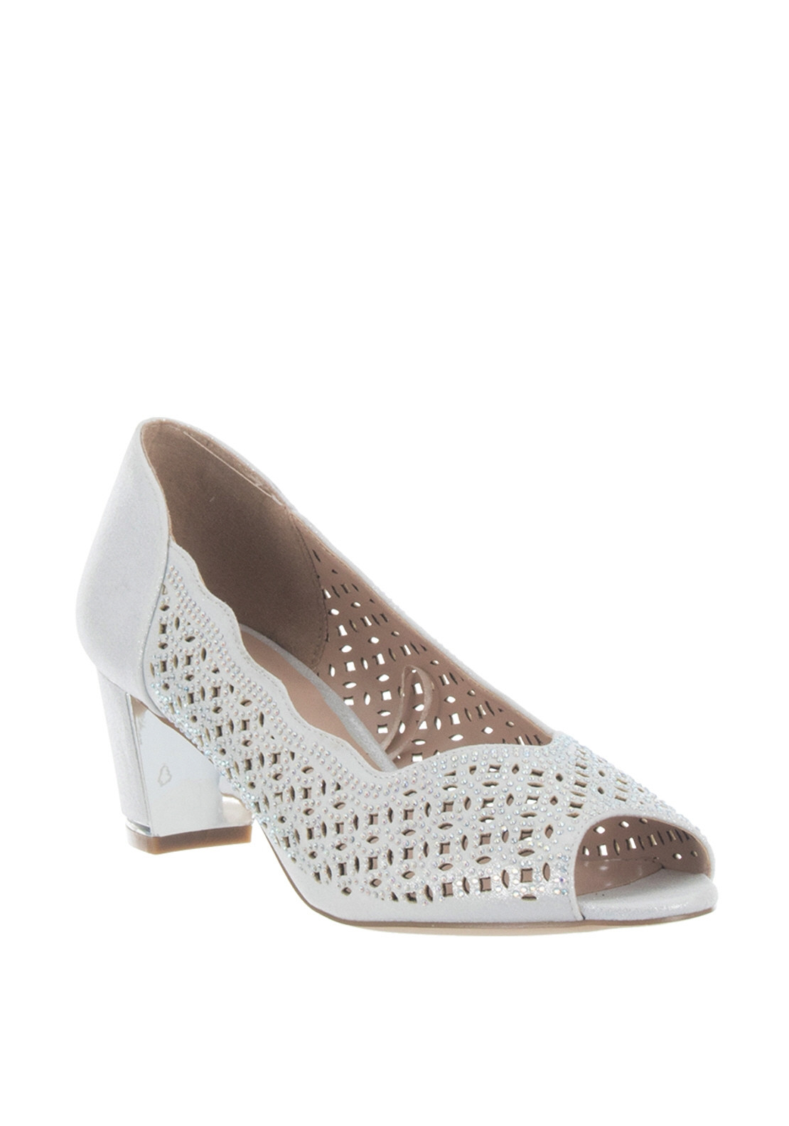 5ab4c5e8e239 Lotus Attica Embellished Peep Toe Shoes, Silver. Be the first to review  this product