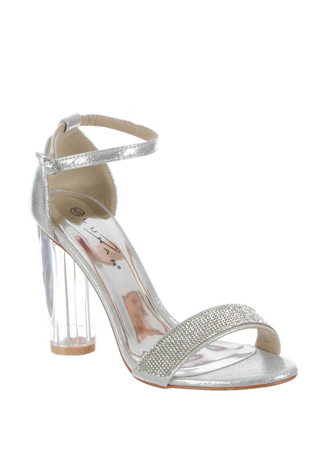 Lunar Gabriella Metallic Clear Block Heel Sandals