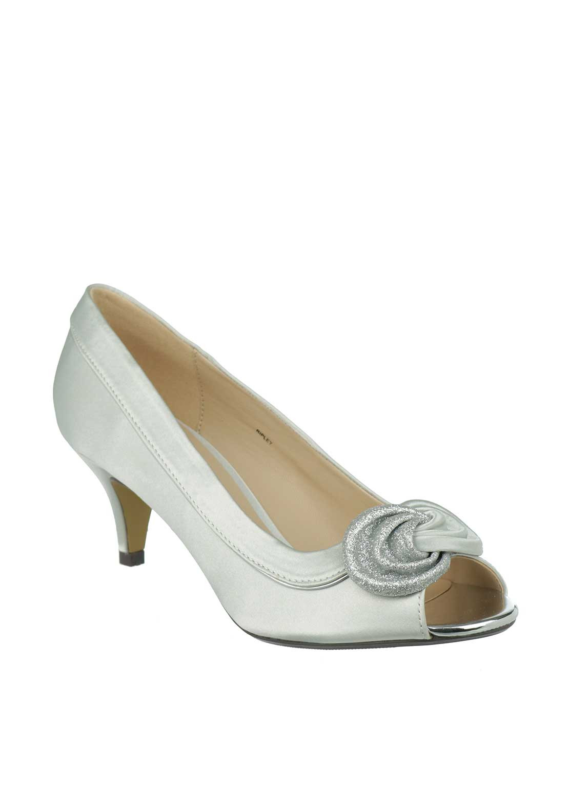 Lunar Elegance Riple Satin Heeled Shoes, Silver