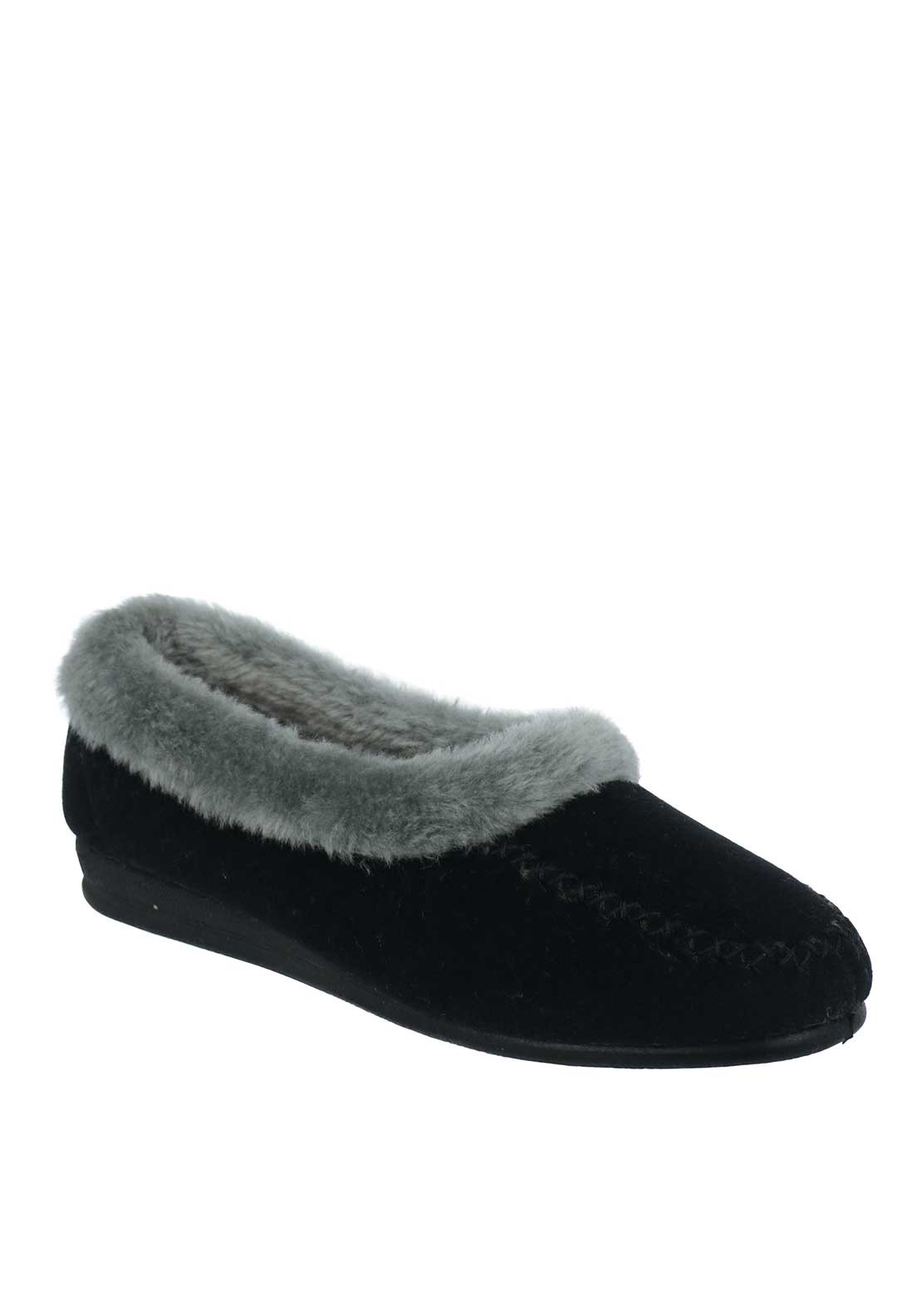 Lunar Womens Earl Moccasin Slippers, Black
