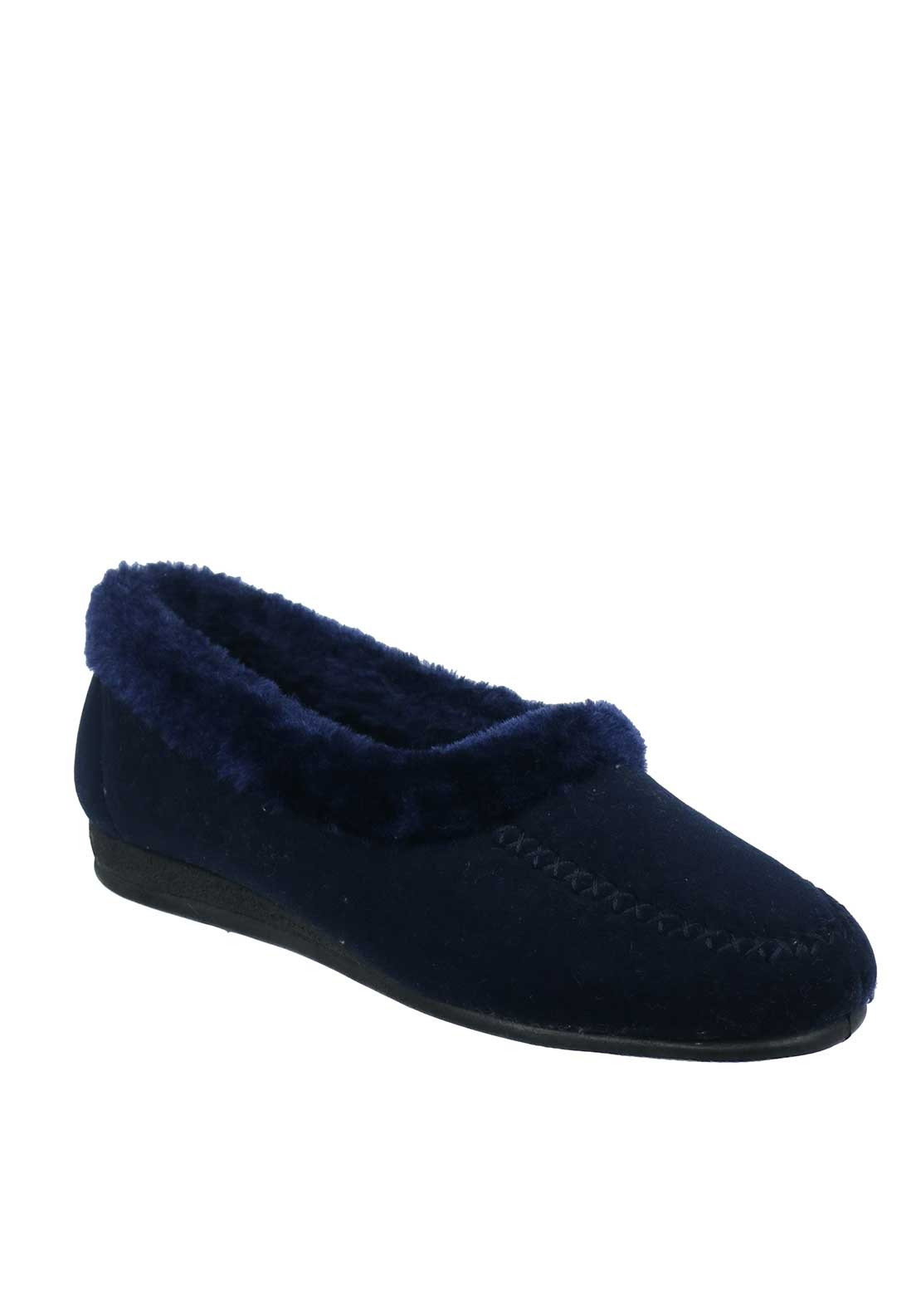 Lunar Womens Earl Moccasin Slippers, Navy