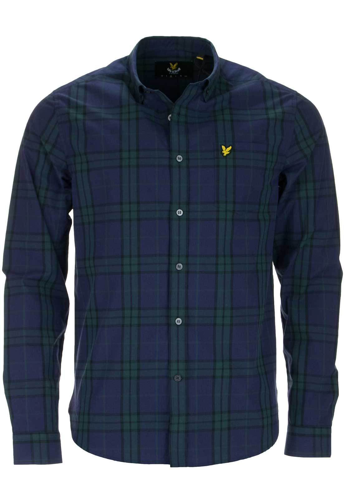 Lyle & Scott Mens Tartan Checked Long Sleeved Shirt, Navy