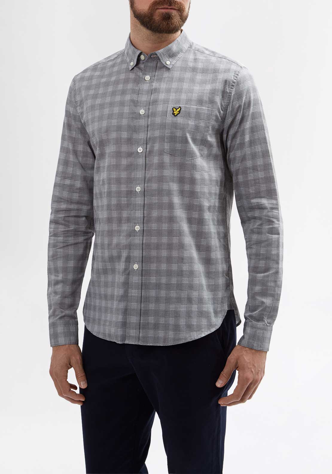 Lyle & Scott Mens Textured Long Sleeved Checked Shirt, Grey