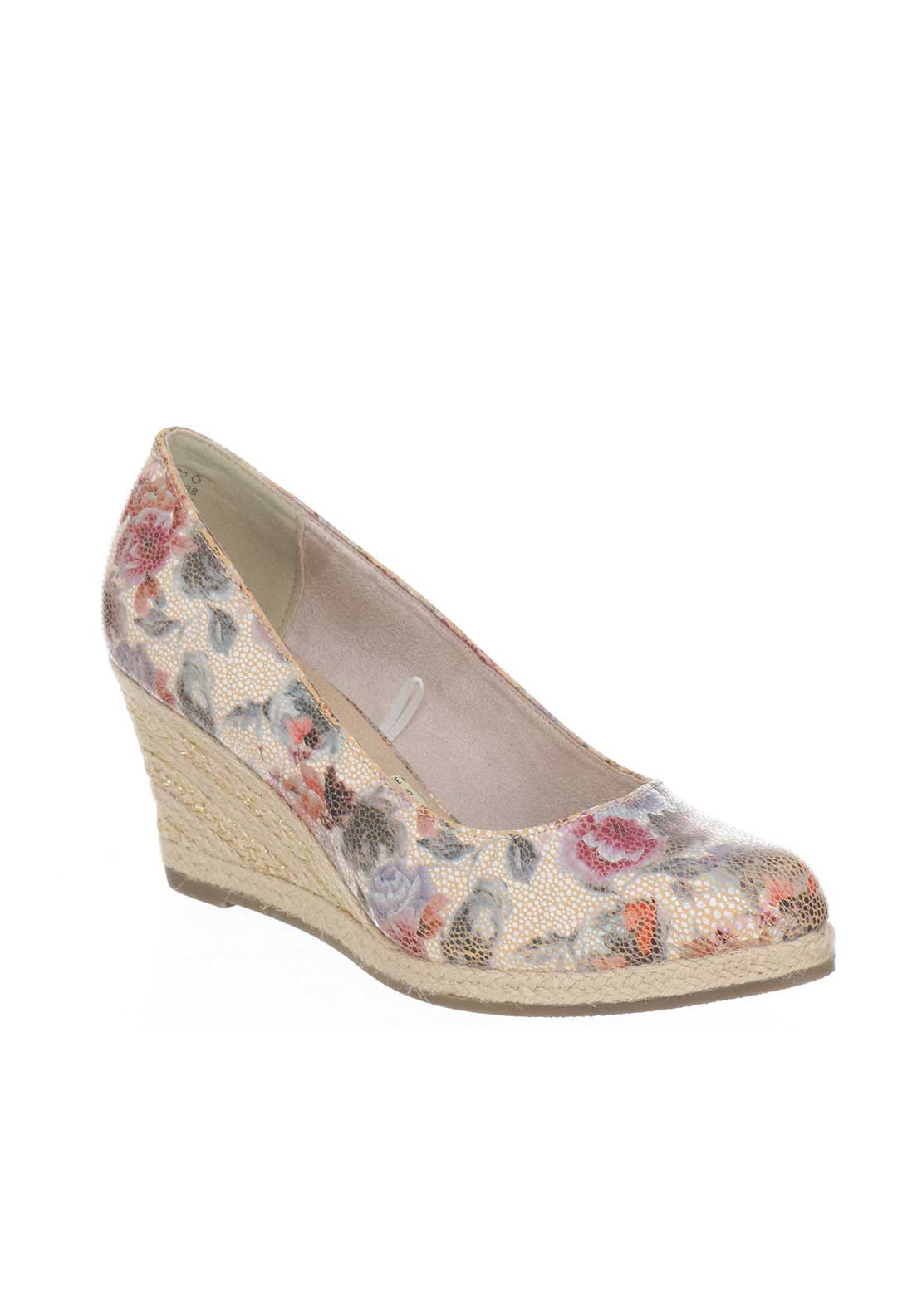 Marco Tozzi Floral Espadrille Wedged Shoes, Multi-Coloured