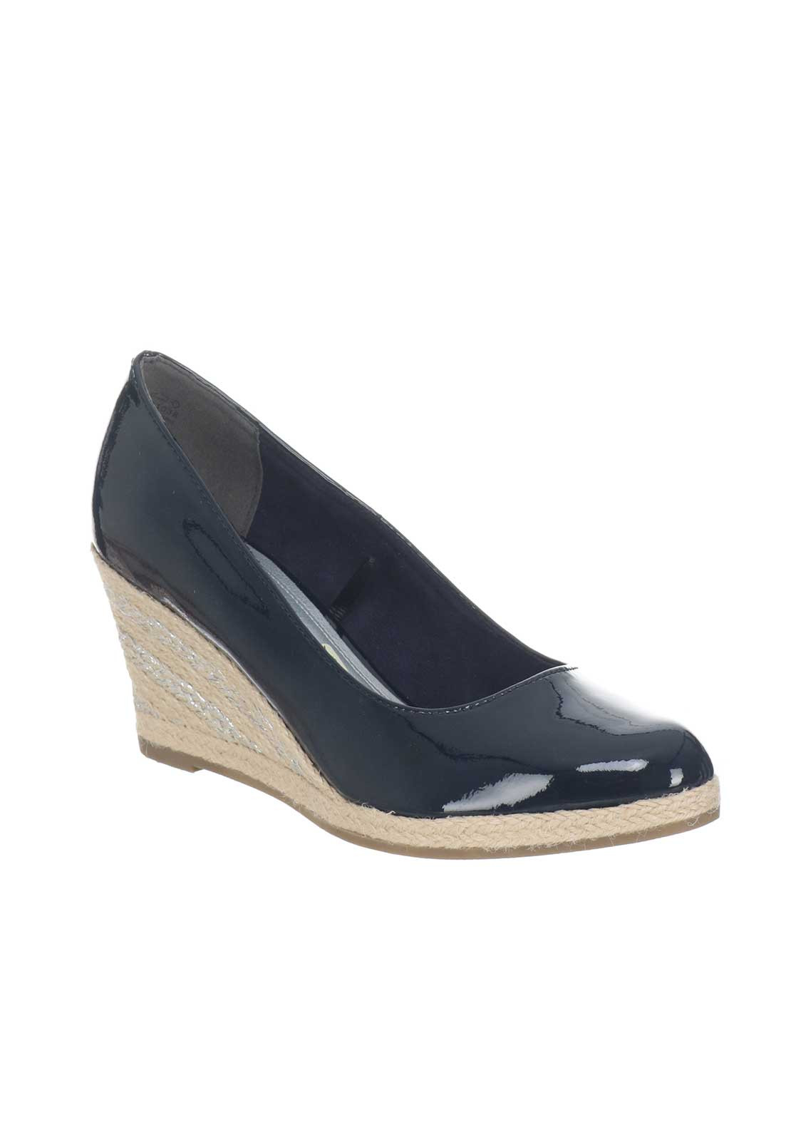 Marco Tozzi Patent Espadrille Wedged Shoes, Navy