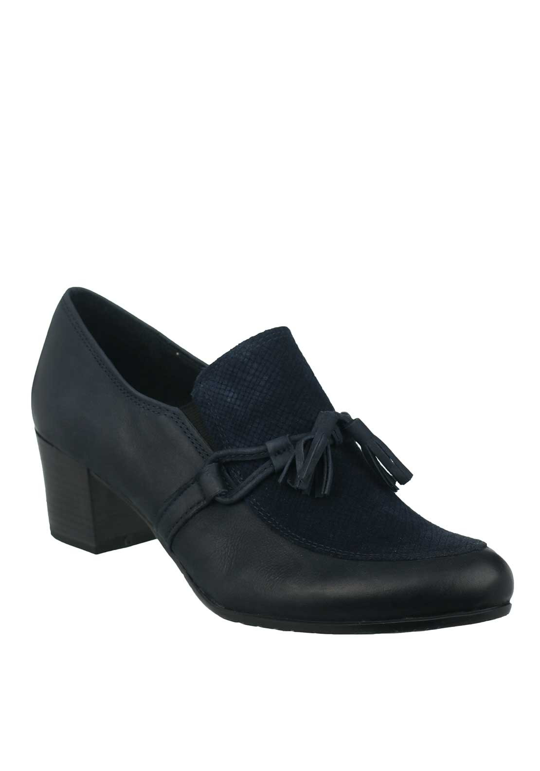 Marco Tozzi Leather Tassel Heeled Slip on Loafer Shoes, Navy