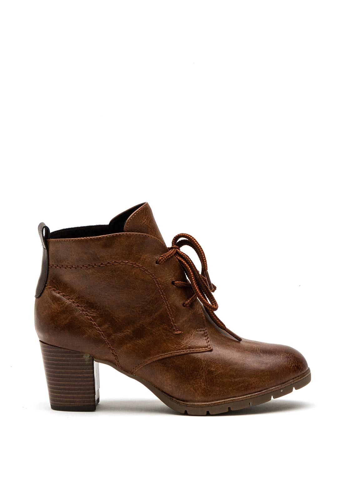 Marco Tozzi Lace Up Chunky Heel Ankle Boots, Brown