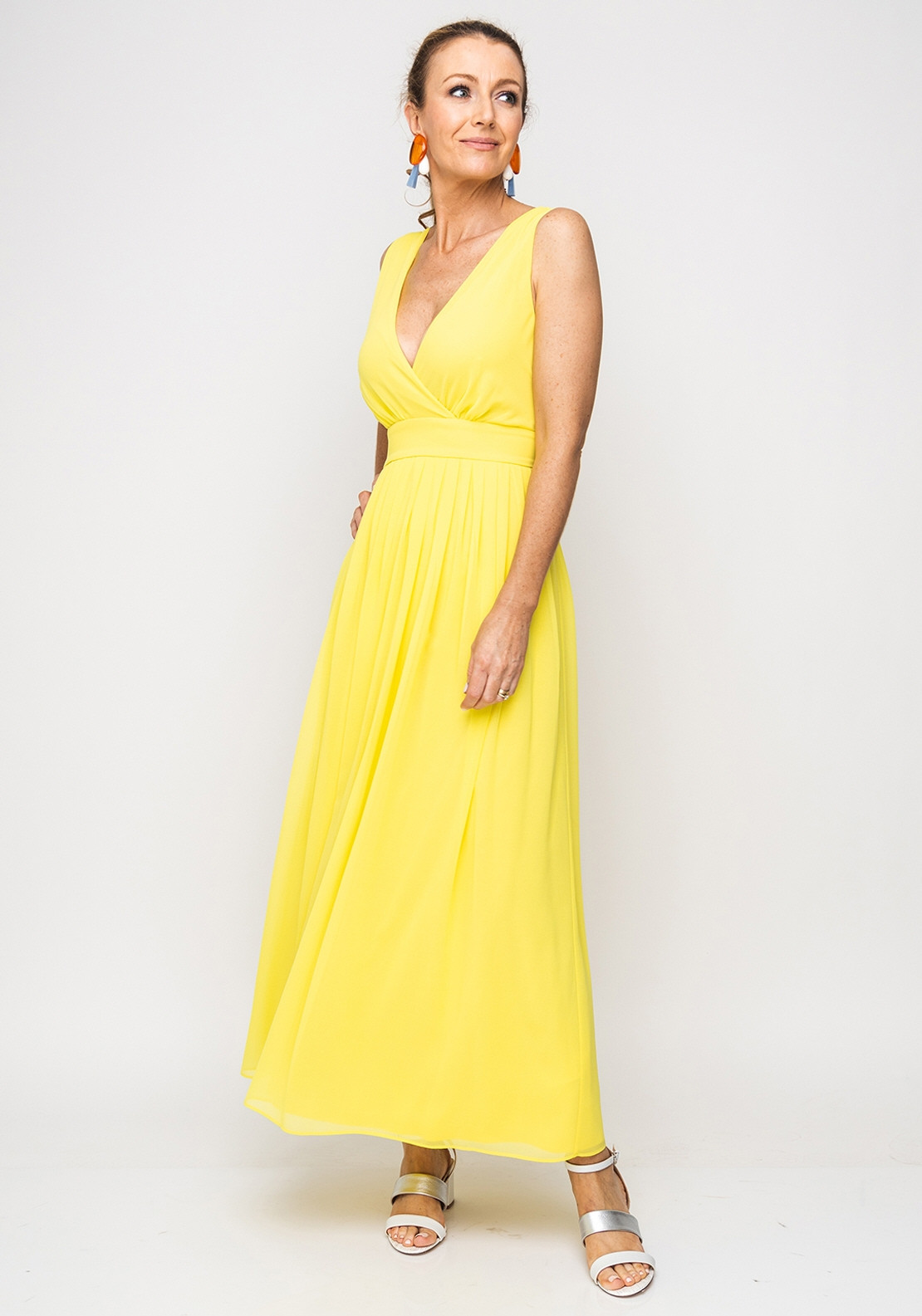ad8ae1d36959 Emme Marella V-Neck Chiffon Maxi Dress