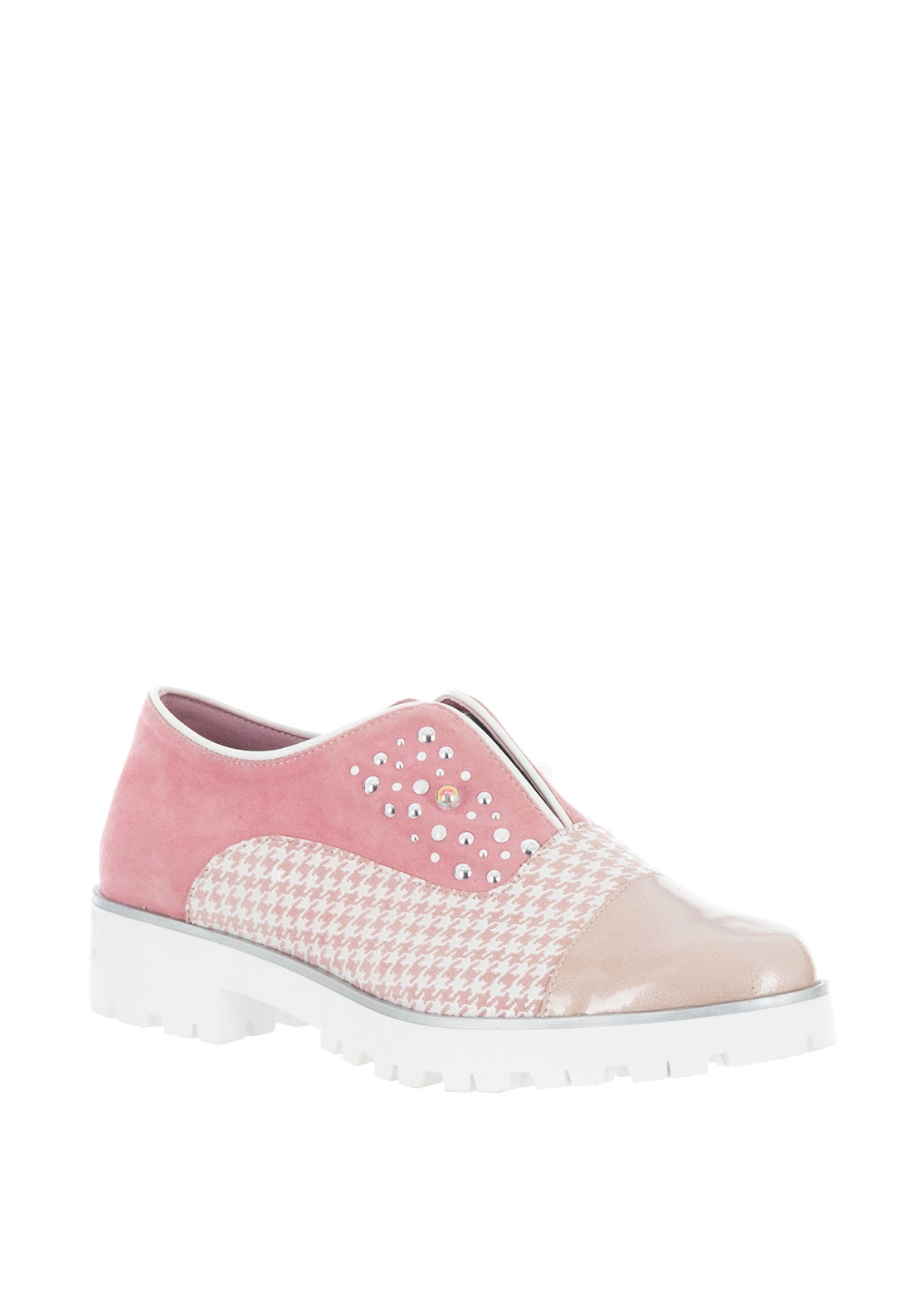 Maria Leon Leather Stud Houndtooth Loafers, Pink