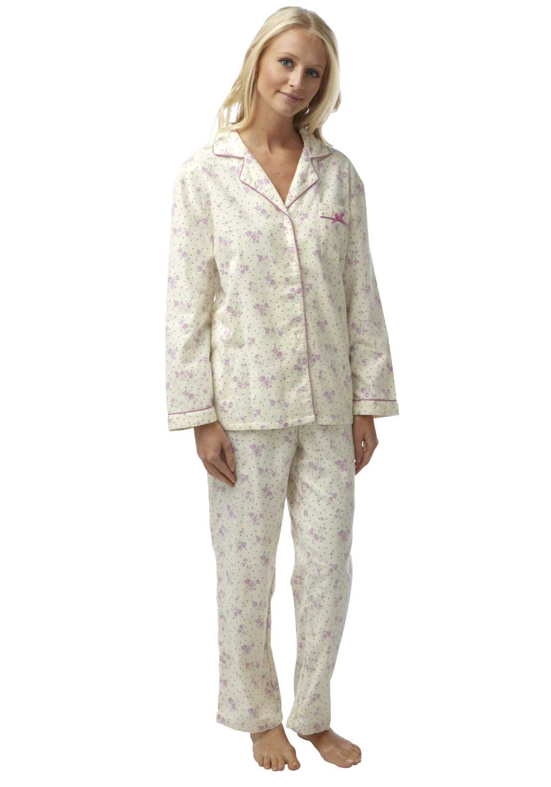 Marlon Floral Print Brushed Cotton Pyjama Set, Cream