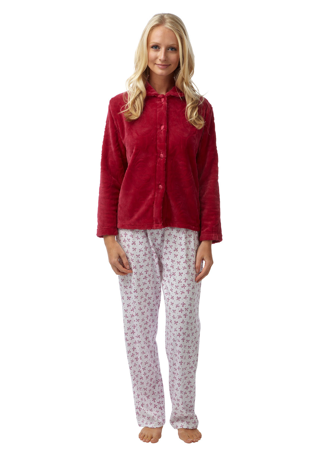 Marlon Fleece Bed Jacket, Wine