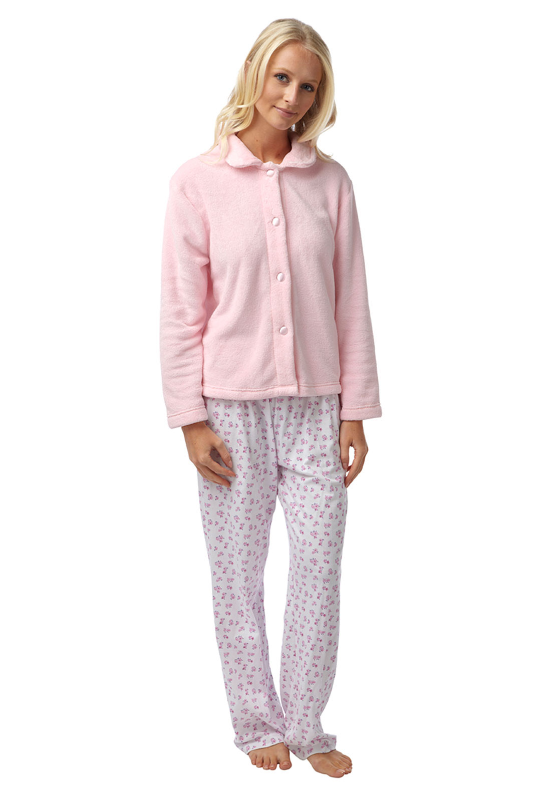 Marlon Terry Fleece Bed Jacket, Pale Pink