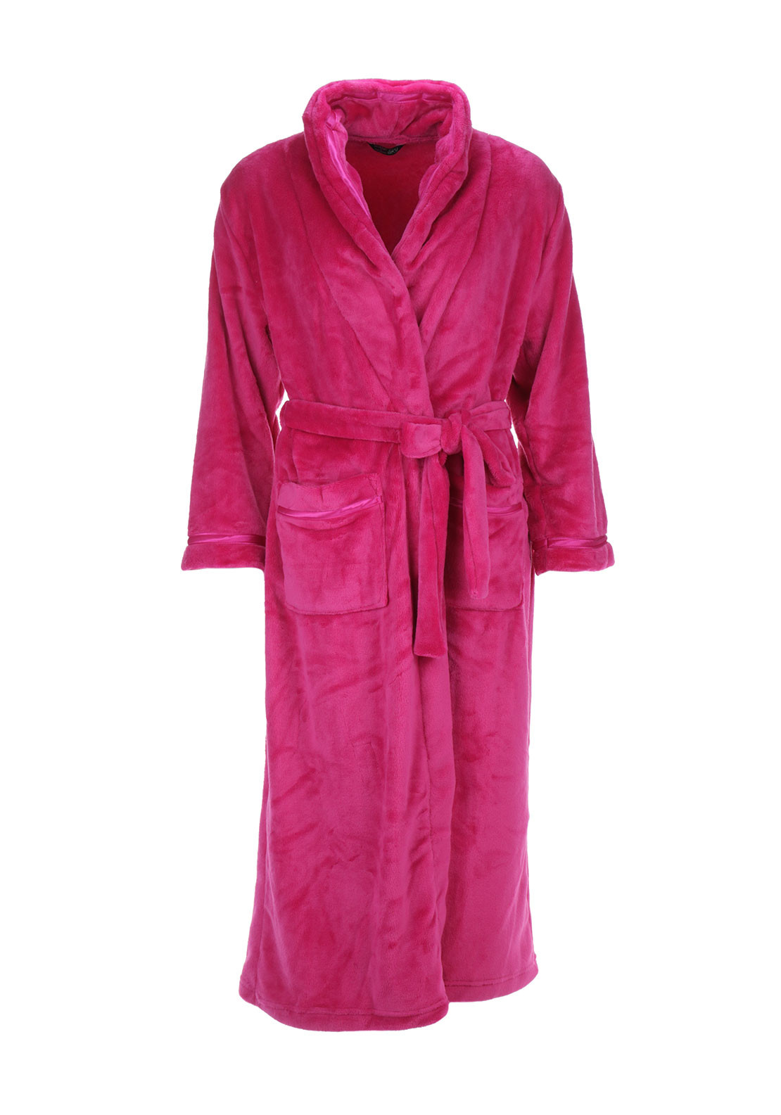 Indigo Sky Wrap Over Terry Dressing Gown, Hot Pink