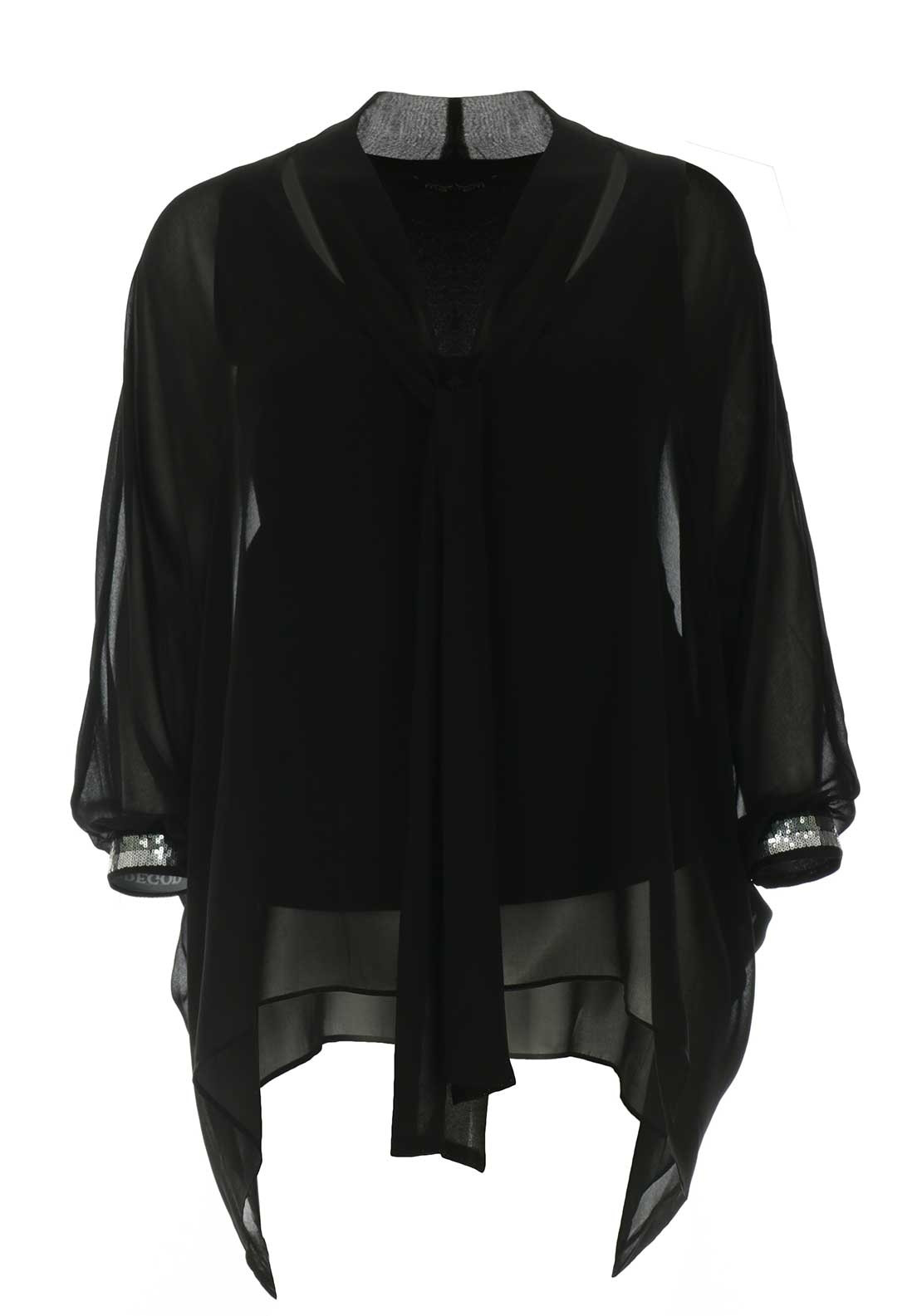7f132442f30 Mat Sequin Cuff Chiffon Overlay Top, Black. Be the first to review this  product