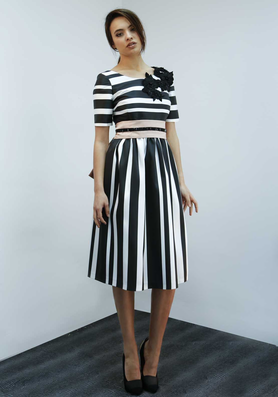 Matilde Cano Striped Short Sleeve Fit & Flare Dress, Black and White