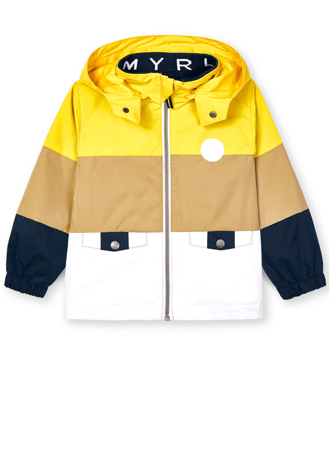 Mayoral Boys Colour Block Windbreaker, Yellow Mix