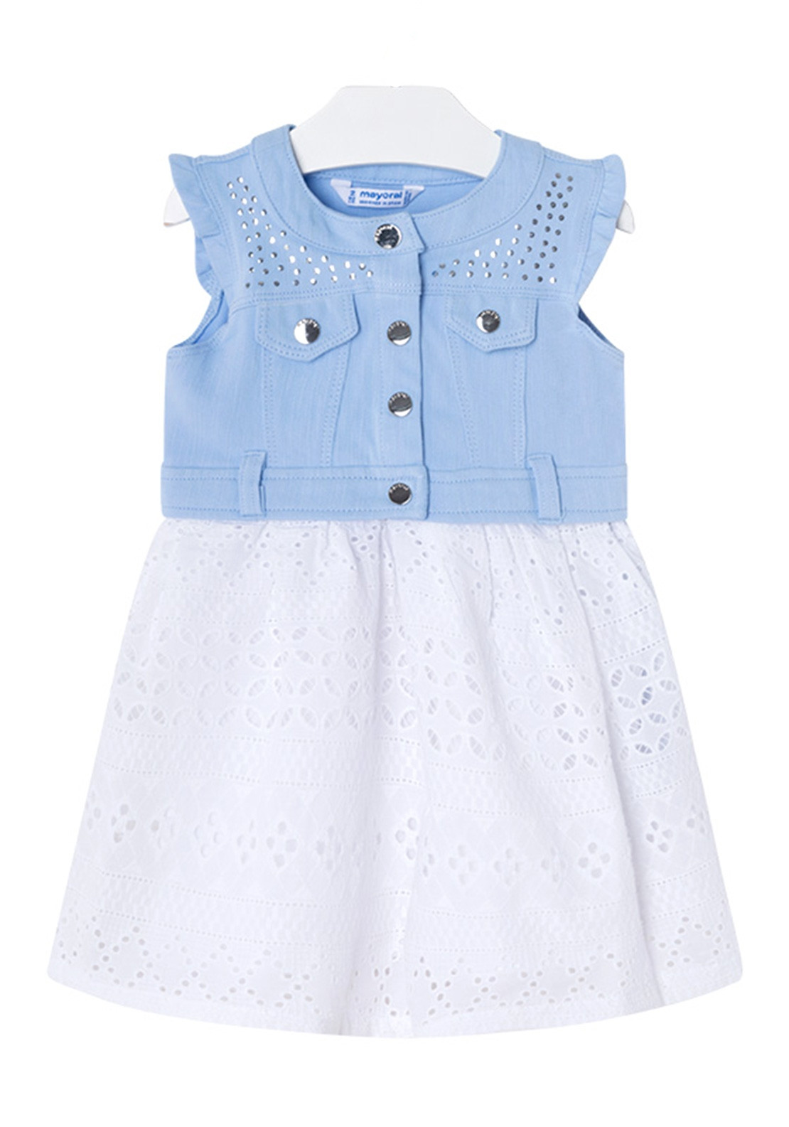 0c64551eec38 Mayoral Girls Denim Bodice Lace Dress