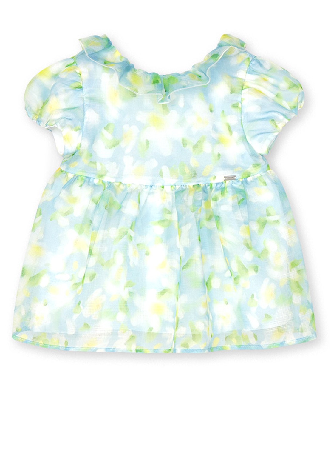 Mayoral Girls Frill Top, Blue Green