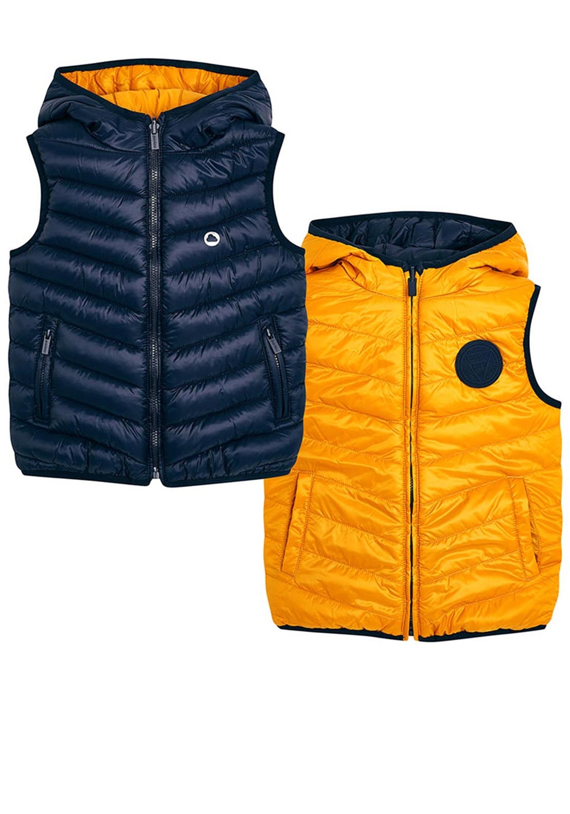 7707400542582 Mayoral Boy Reversible Padded Gilet, Navy Yellow. Be the first to review  this product
