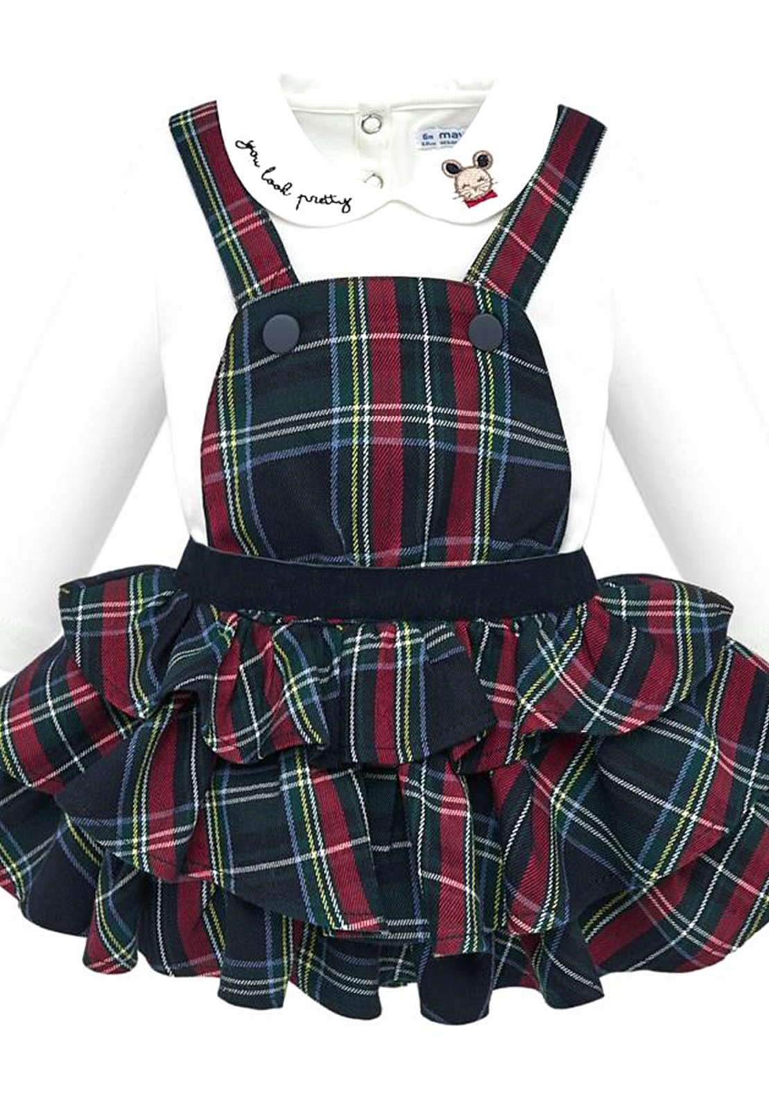 262cb3f9a Mayoral Baby Girls Top and Ruffled Dungaree Skirt Set, Navy Blue