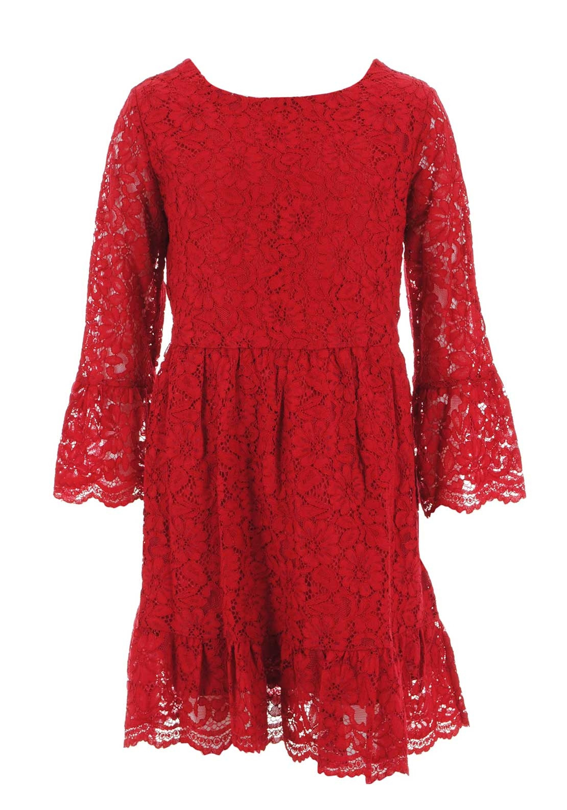 1382b00703a67 Mayoral Older Girls Lace Dress, Red | McElhinneys