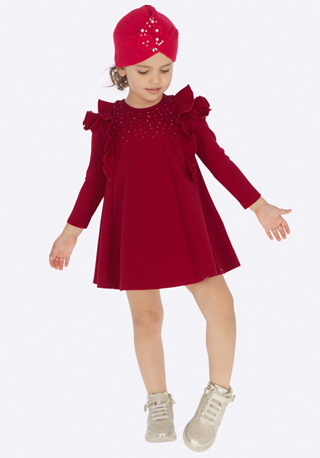 d5811c6ff5 Mayoral Girls Long Sleeve Knit Dress with Imitation Rhinestones, Red