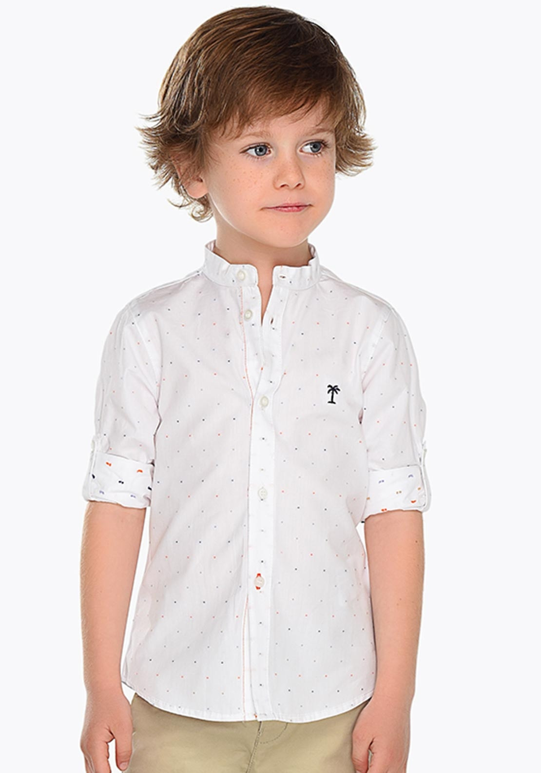 e08a69c5e Mayoral Boys Long Sleeve Spotted Slim Fit Shirt, White | McElhinneys