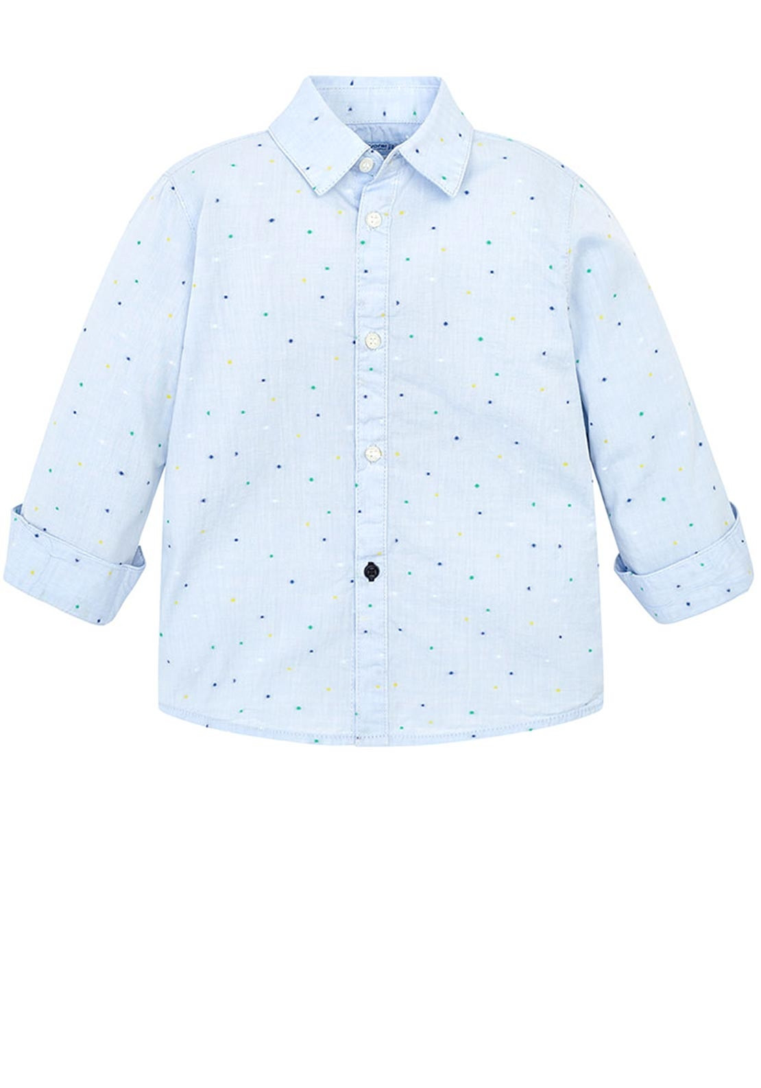 93fe76e4 Mayoral Boys Long Sleeve Dots Slim Fit Shirt, Blue | McElhinneys