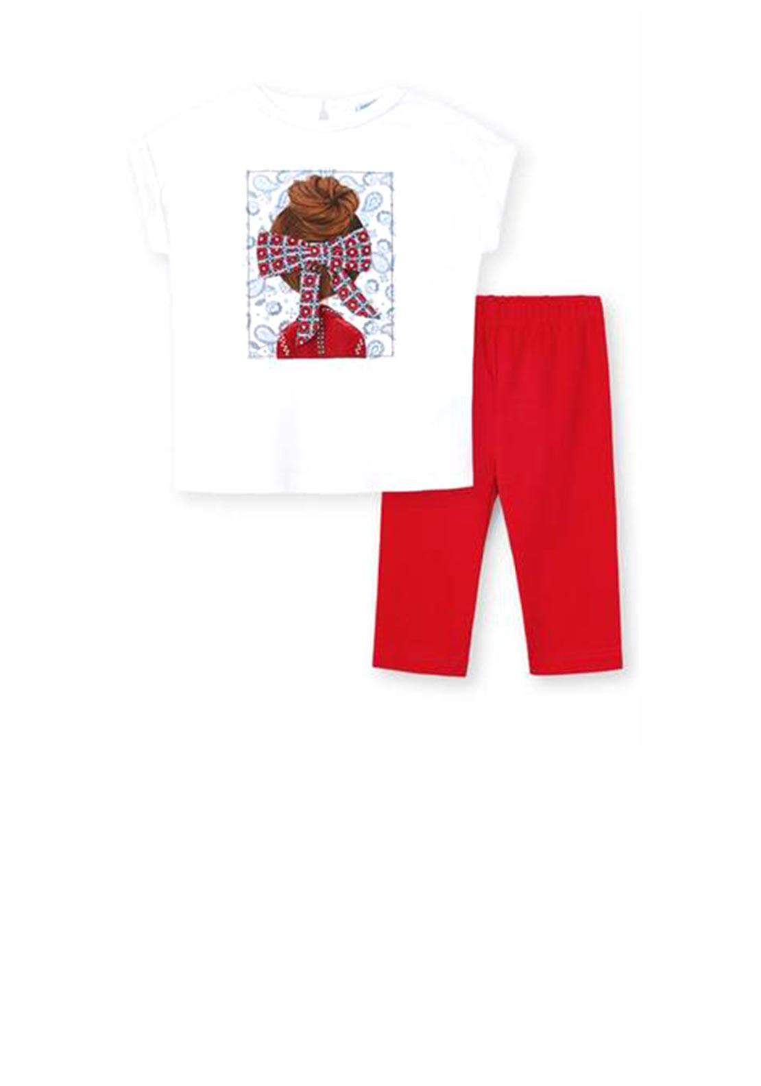 Mayoral Girls Hair Bow Print Two Piece Set, Red & White