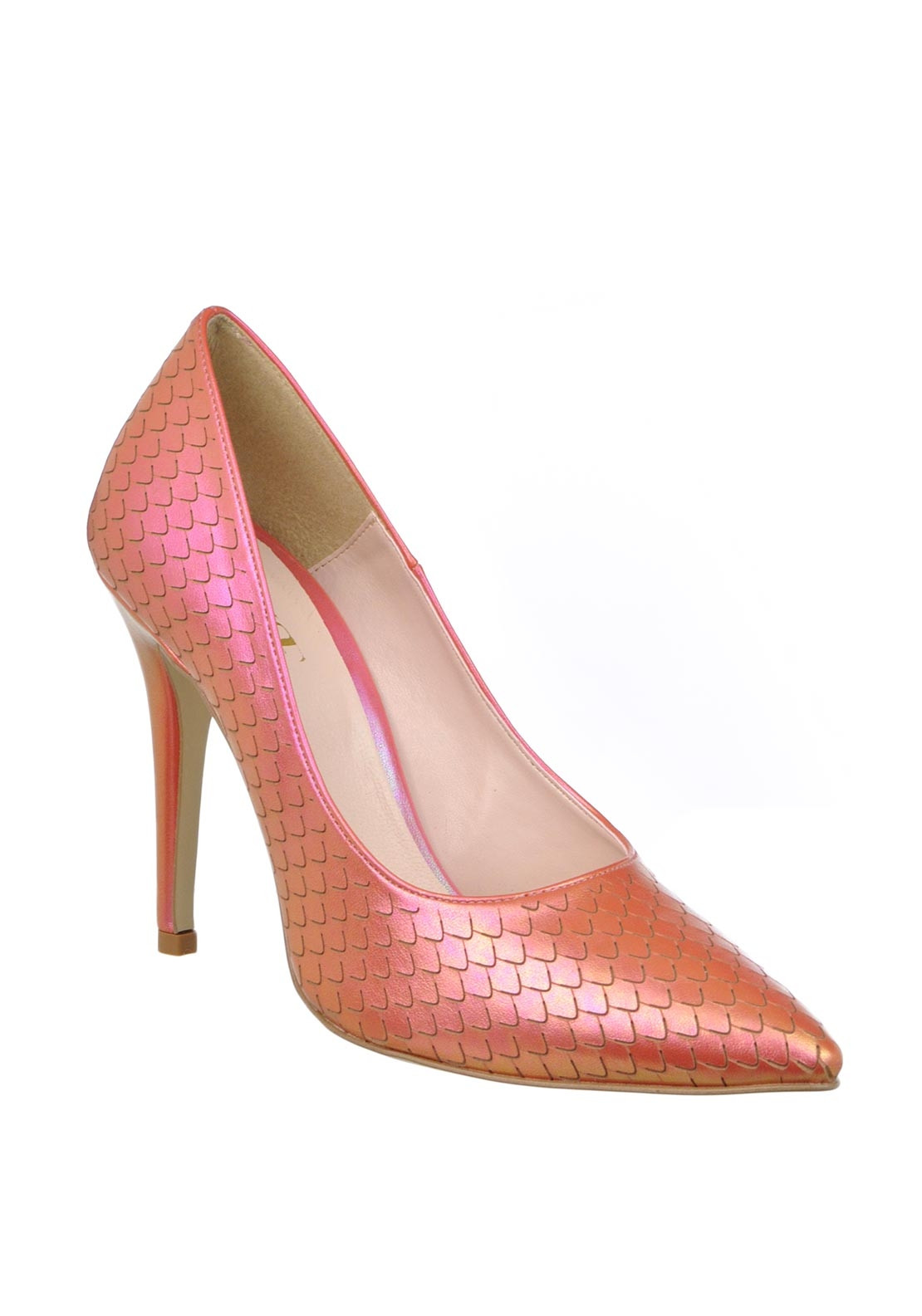 McElhinney's Shimmering Mermaid Print Pointed Toe Heeled Shoes, Pink