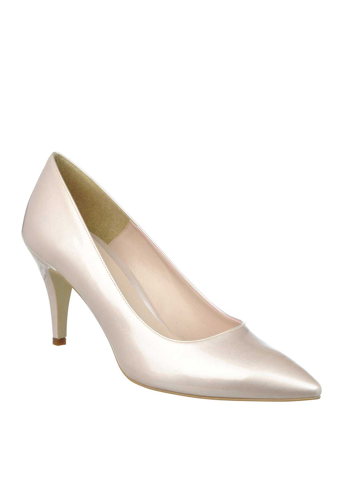 McElhinney's Patent Pointed Toe Low Heeled Shoes, Champagne