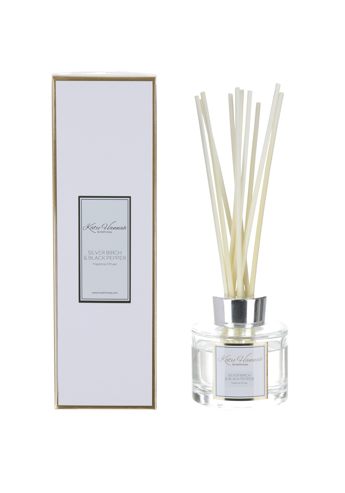 Katie Hannah By McElhinneys Silver Birch & Black Pepper Reed Diffuser