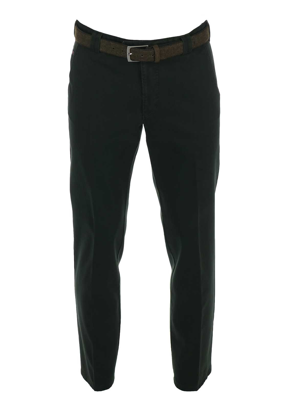 Meyer Roma Belted Chino Trousers, Forest Green