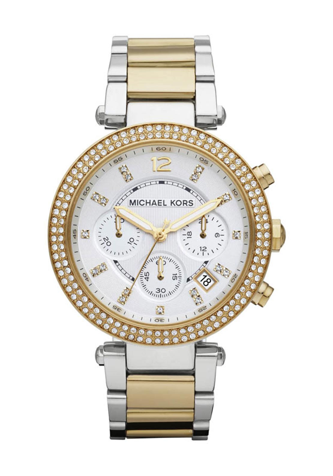 Michael Kors Womens Parker Two Tone Watch, Silver and Gold