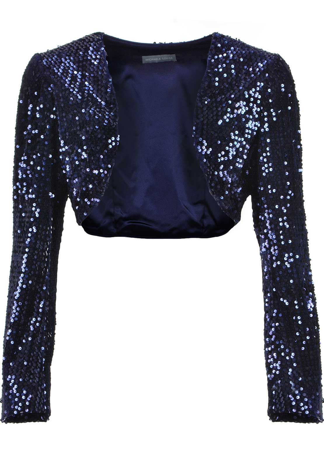 Michaela Louisa Sequin Embellished Velvet Cropped Bolero Jacket, Midnight