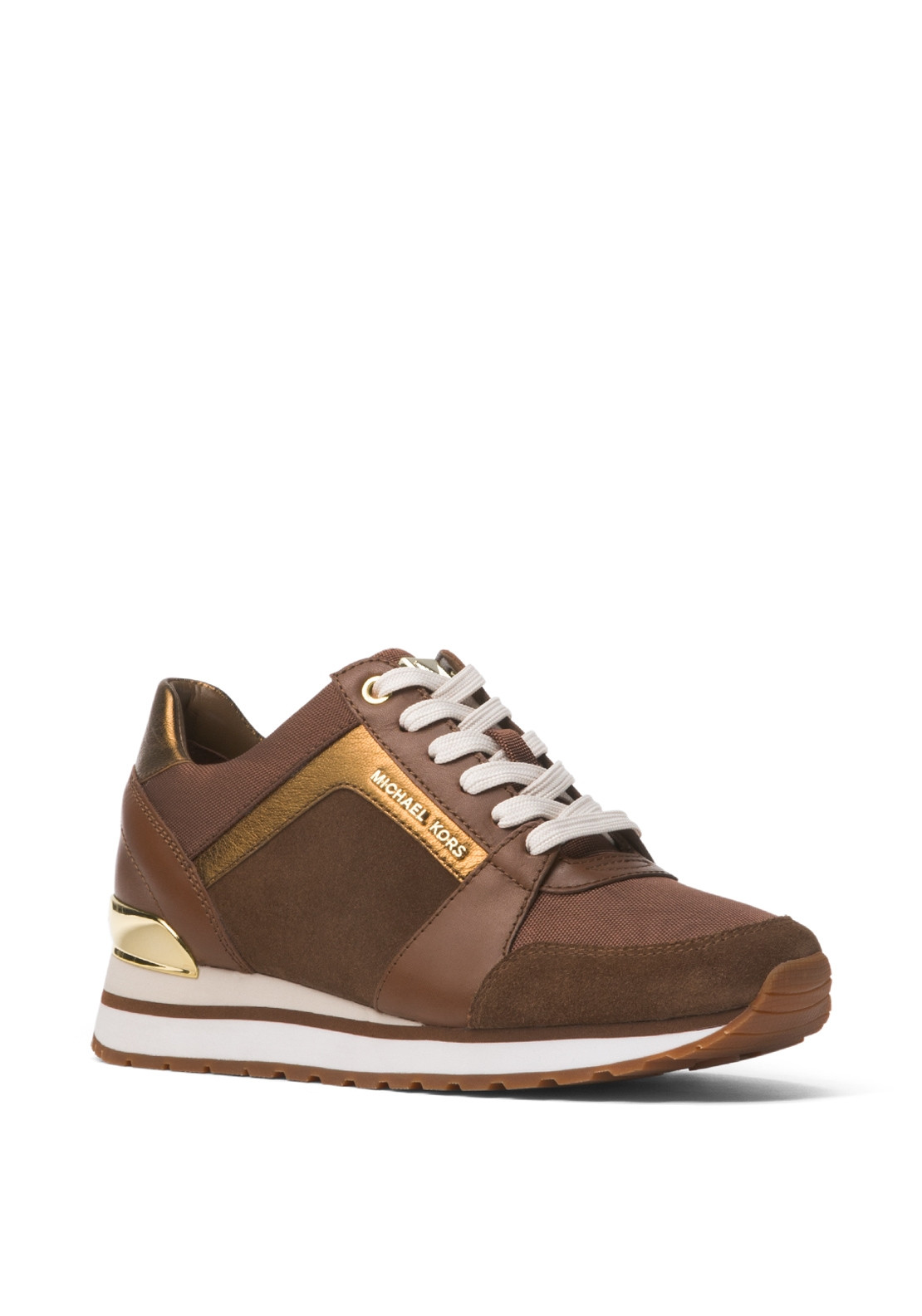 c43d3494c27 MICHAEL Michael Kors Billie Canvas and Leather Trainers, Caramel. 45% OFF