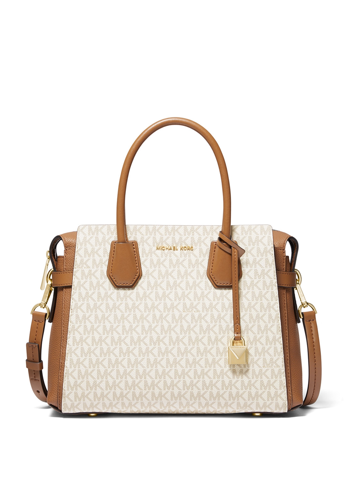Michael Kors Leather Belted Logo Grab Bag Tan White