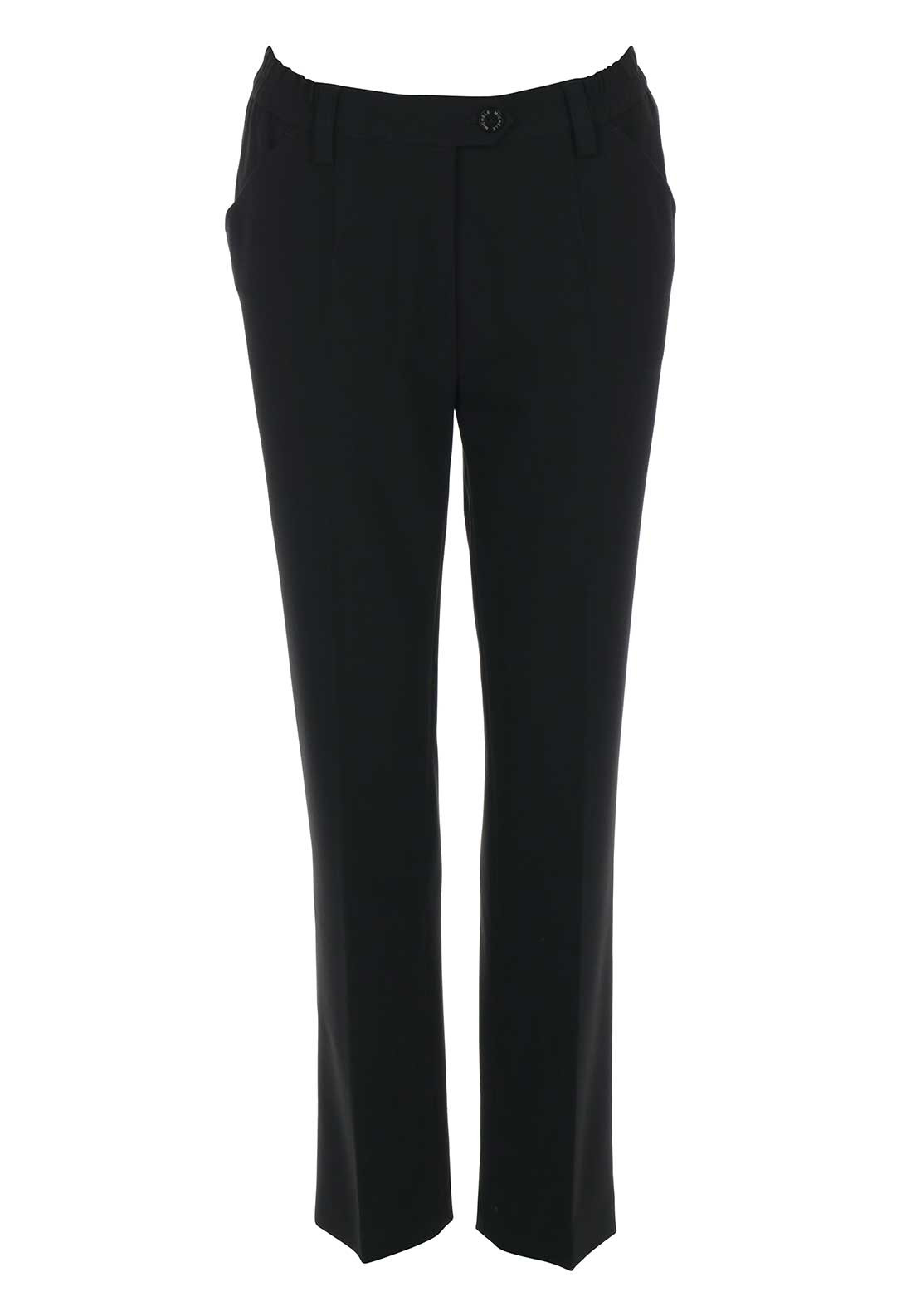 Michele Elasticated Waist Slim Leg Short Length Trousers, Black