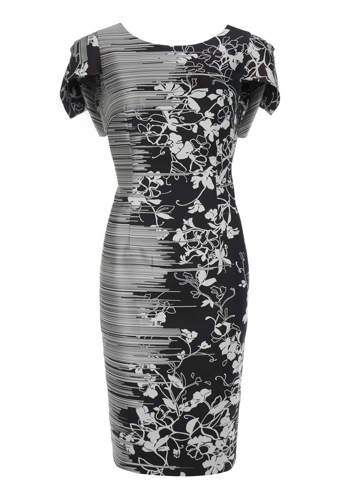 Moskada Floral Print Cap Sleeve Shift Dress, Black and White