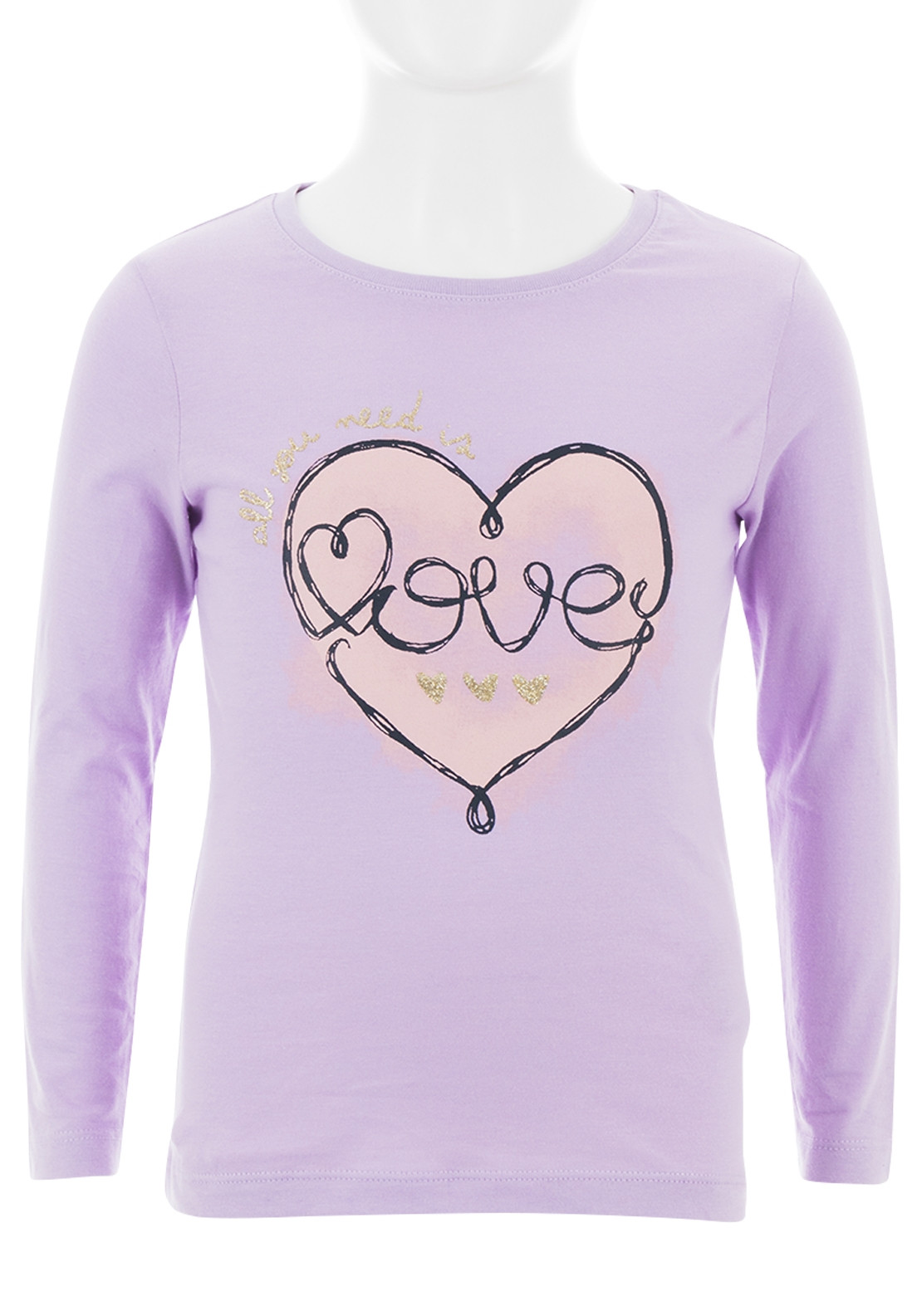 Name It Girls Freja Love Long Sleeve Top, Lavender