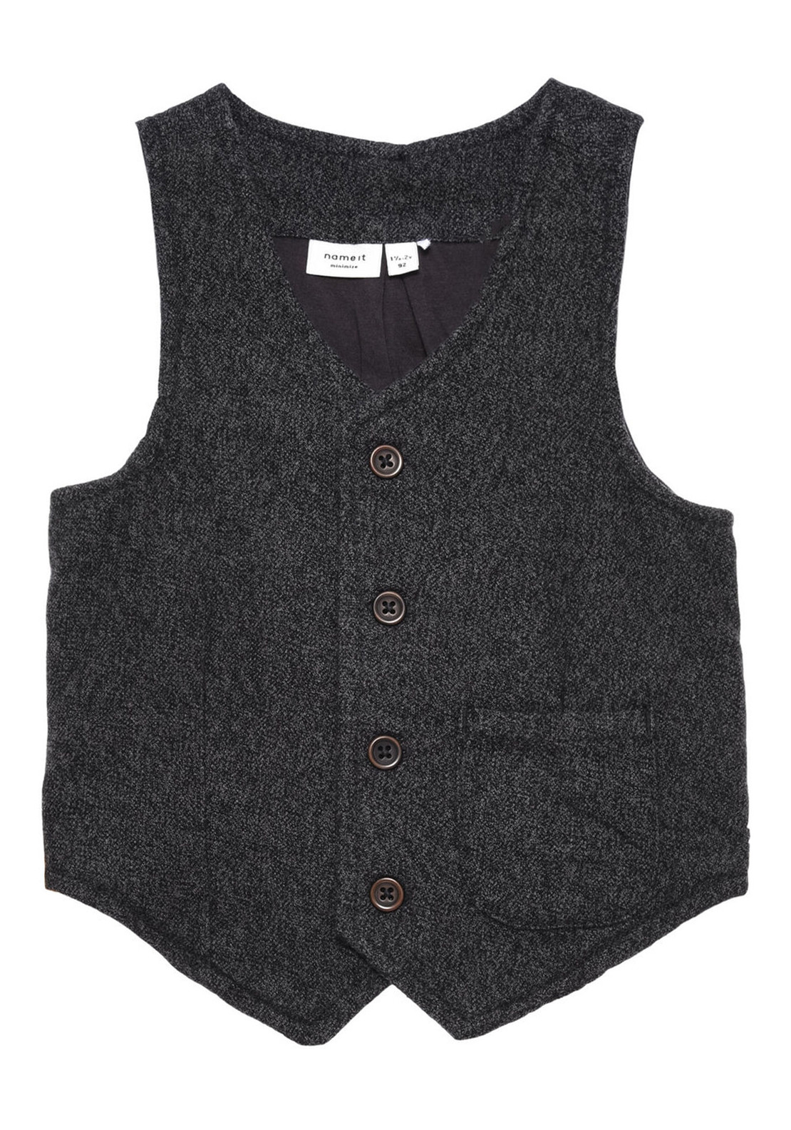 Name It Mini Boys William Waistcoat, Dark Grey