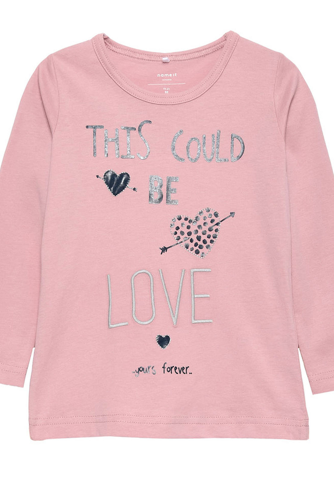 Name It Mini Girls Frida Love Top, Pink